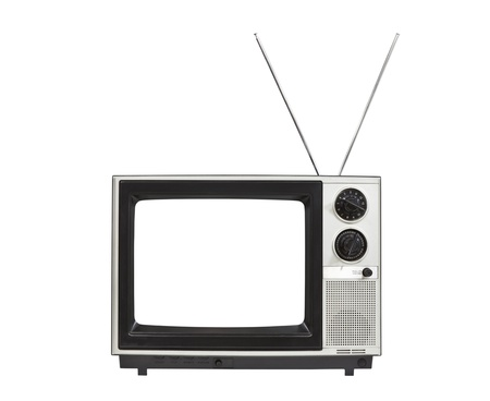 Blank screen portable vintage television with antennas up   Isolated on white
