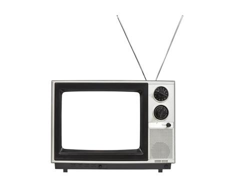 television antigua: Pantalla en blanco portátil de la televisión de la vendimia con las antenas arriba aislados en blanco