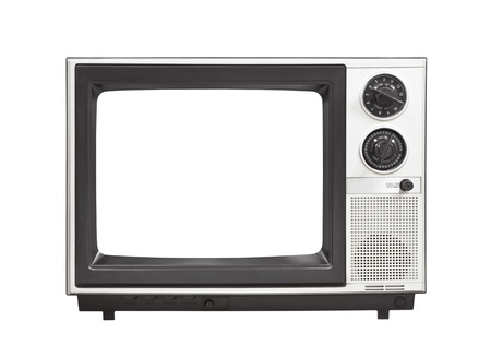 1980s portable television set with empty screen isolated .