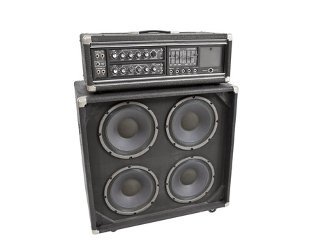 Old vintage bass amplifier isolated on white  Stock Photo - 13882971
