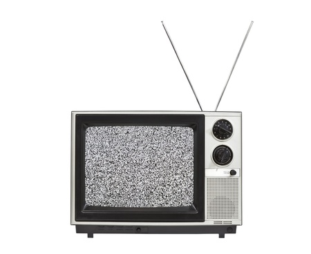 retro tv: Static screen portable vintage television with antennas up.  Isolated on white.
