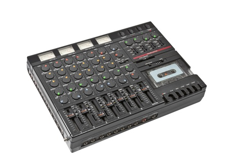 Retro sound mixing board and cassette recording device isolated Stock Photo - 13939733