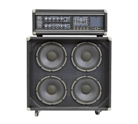 Retro vintage bass amplifier isolated on white  photo