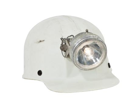 mineria: Espeleolog�a vintage y un sombrero duro de la miner�a con la l�mpara