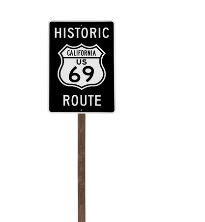 Tall isolated historic route 69 sign on a wood post  Stock Photo - 14221858