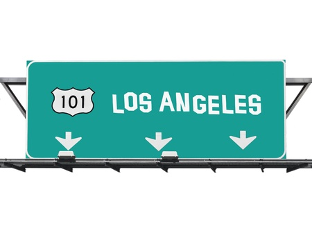 101 Hollywood freeway Los Angeles sign with hand made font Stock Photo - 14445669