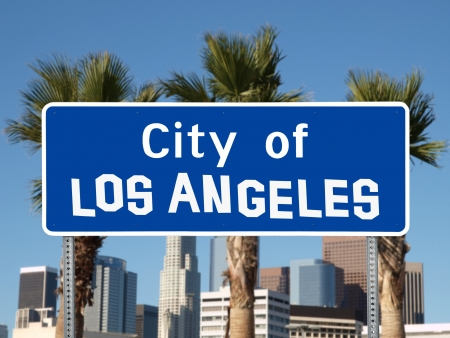 Los Angeles city limit sign with hand made font.