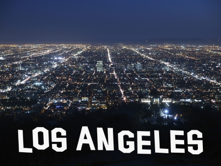 Los Angeles California at night with handmade font graphic.