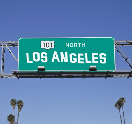 101 Los Angeles Freeway sign with hand made font. Stock Photo - 14445679