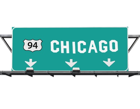 interstate: Chicago 94 freeway sign with hand made font  Stock Photo