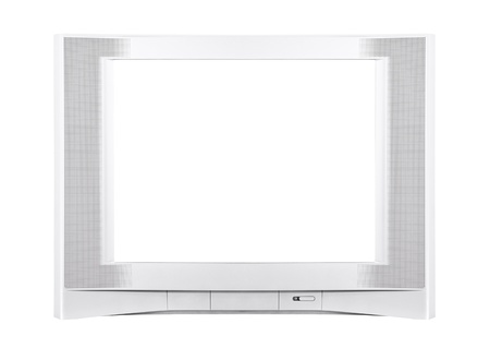 Large modern silver television isolated  Stock Photo - 14510809