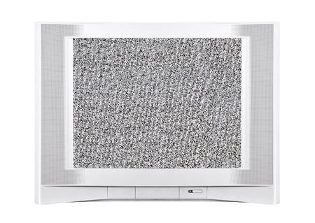 Large modern silver television with static screen  Stockfoto