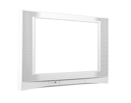 Large contemporary silver television isolated Stock Photo - 14504767