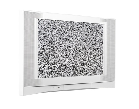 big screen tv: Large contemporary silver television isolated with static screen. Stock Photo