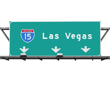 15 Freeway Las Vegas Sign Geïsoleerd Stockfoto