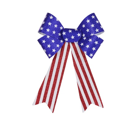 Red, white and blue glitter bunting bow isolated photo