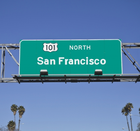 San Francisco 101 Freeway sign with palm trees. Stock Photo - 14591705