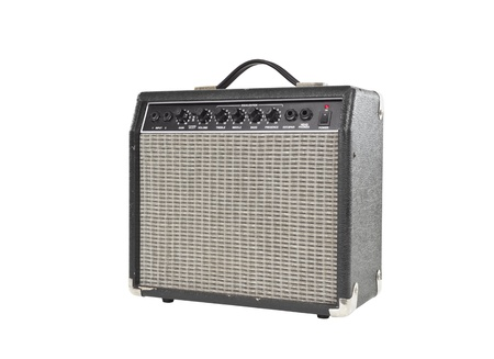 guitar amplifier: Vintage little grungy guitar amplifier with clipping path.