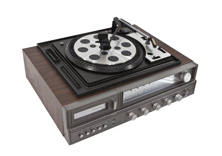 Vintage record player and eight track stereo Stock Photo - 14627525