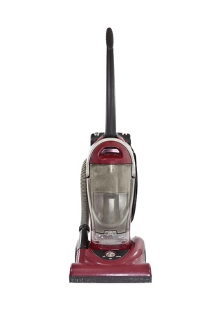 cleaners: Oude gebruikte geïsoleerd rood vacuüm Stockfoto