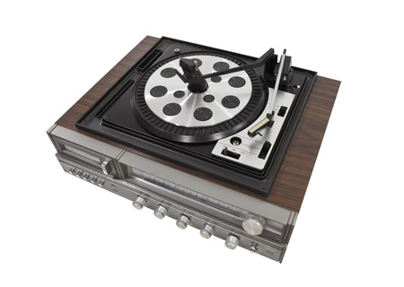 Vintage turn table stereo isolated photo
