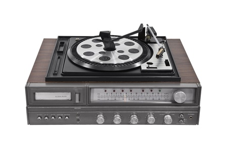 receiver: Vintage turntable stereo receiver isolated