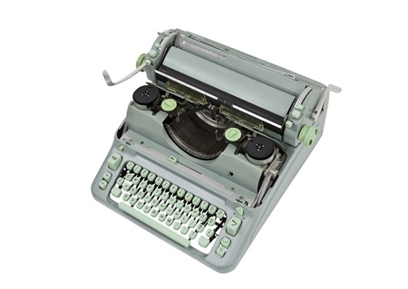 Vintage manual green metal typewriter isolated 版權商用圖片 - 14732702