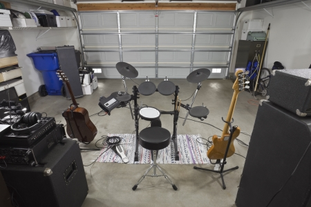 Garage rock band music equipment.  Backstage view. photo