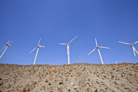 Large windmills on top of a hill in California Stock Photo - 15070969