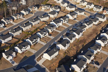 Aerial of a brand new suburban neighborhood in the eastern USA. photo