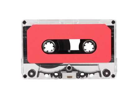 Vintage red blank audio cassette isolated Stock Photo - 15581936