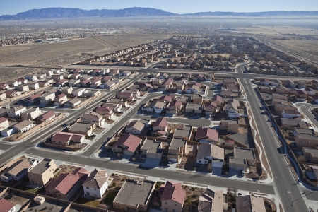Suburban subdivision aerial in Albuquerque, New Mexico USA