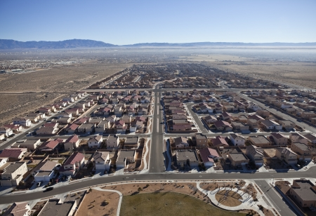 Newly built suburban neighborhood in the western USA. photo