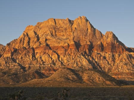 Warm sunrise light on Mt. Wilson at Red Rock National Conservation Area near Las Vegas Nevada. Stock Photo - 15803698