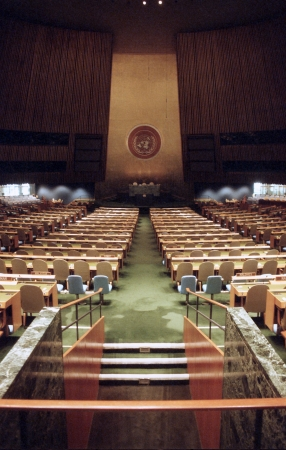 assembly hall: NEW YORK, NY - December, 10:  Interior of the General Assembly Hall at the United Nations headquarters on December 10, 1991 in New York, NY.