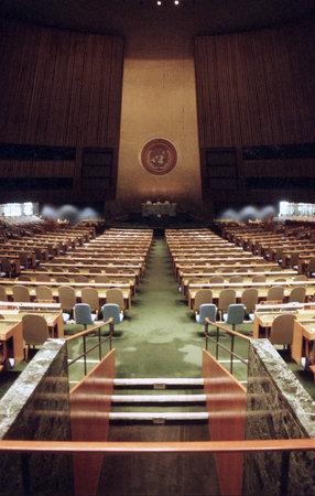 naciones unidas: NUEVA YORK, NY - Diciembre, 10: Interior del Salón de la Asamblea General en la sede de las Naciones Unidas el 10 de diciembre de 1991 en Nueva York, NY. Editorial
