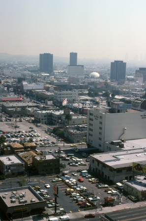 Hollywood, California, USA - March 2, 1981:  Vintage Hollywood cityscape on a bright but smoggy Los Angeles day.   Stock Photo - 15838273