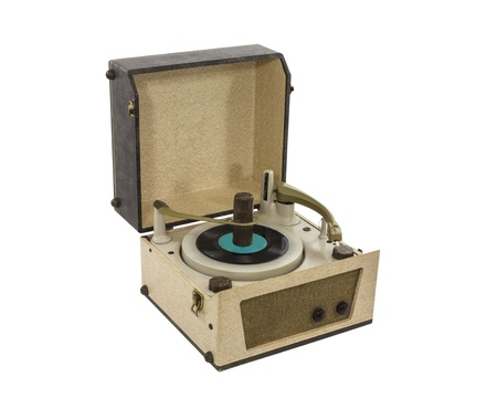 Vintage Portable Record Player from the 1960s with clipping path. photo