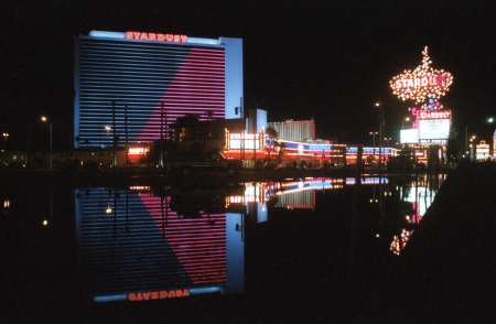 archival: LAS VEGAS, NEVADA - March 10:  Archival photo of the Stardust Resort and casino.  The hotel opened in 1958 and was imploded in 2007 to make room for redevelopment on March 10, 1992 in Las Vegas, Nevada.