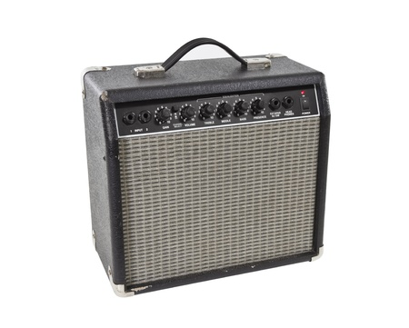 Vintage practice guitar amplifier isolated with clipping path.