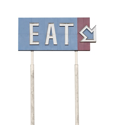 Tall retro eat highway sign near historic route 66.