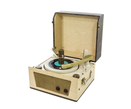 stereo cut: Old record player from the 1960s with clipping path.