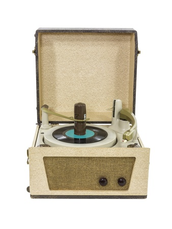 Retro record player from the 1960 photo