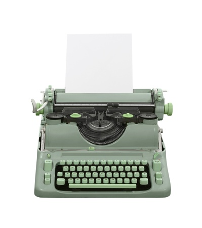 Old green typewriter isolated with clipping path  Stock Photo - 15887455