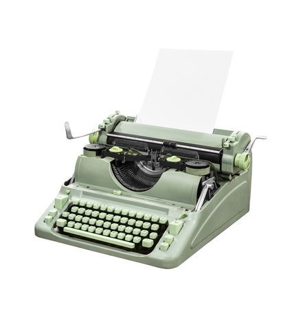 Retro green typewriter isolated Stock Photo - 16007871