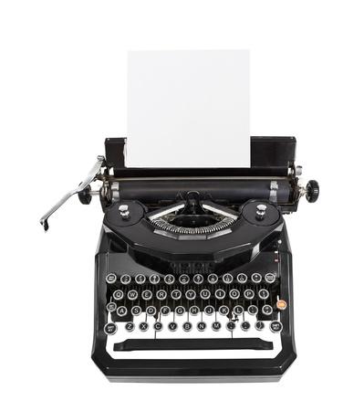 typewriter: Classic m�quina de escribir negro vendimia aislado con papel