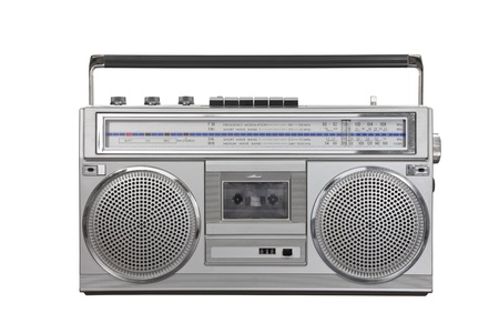 Vintage ghetto blaster portable stereo isolated photo