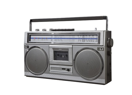 Vintage bom box portable stereo isolated Stock Photo - 16515375