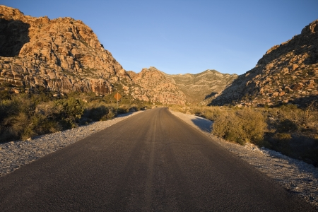 Sunrise light highway at Red Rock National Conservation Area in Southern Nevada's mojave desert. Stock Photo - 16515387