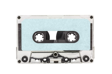 Old blue blank cassette tape isolated Stock Photo - 16565732